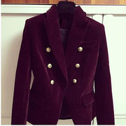 HIGH QUALITY Newest Fashion  Designer Blazer Women's Double Breasted Lion Buttons Velvet Blazer Coat