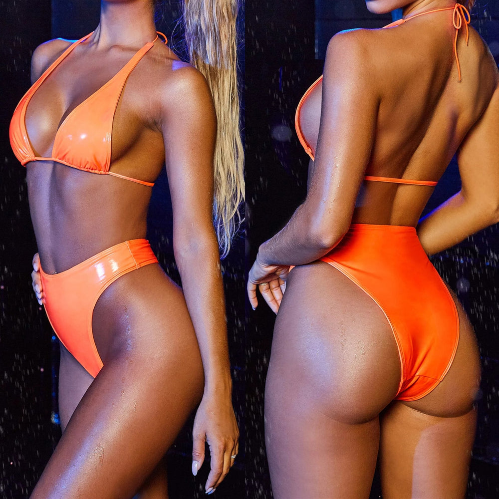 Hirigin High Waist PU Leather Thong Bikini Women 2020 New Noen Bandage Biquini Swimwear Women Bathing Suit Summer Push Up Padded