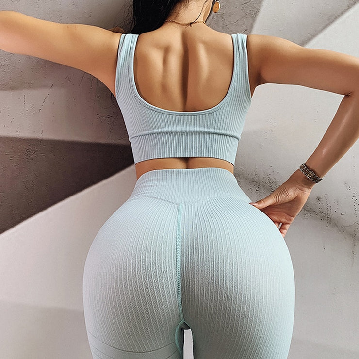 2PCS/Set Seamless Fitness Women Yoga Suit High Stretchy Workout Sport Set Padded Sports Bra High Waist Sports Legging Gym