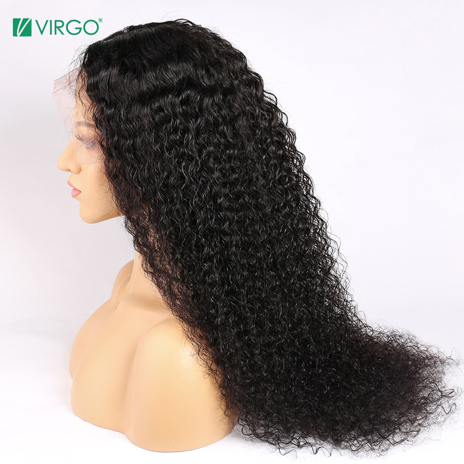 Virgo Peruvian Curly Human Hair Wig HD Lace Wig 13X4 13X6 Transparent Lace Front Human Hair Wig With Baby Hair Deep Wave Wig