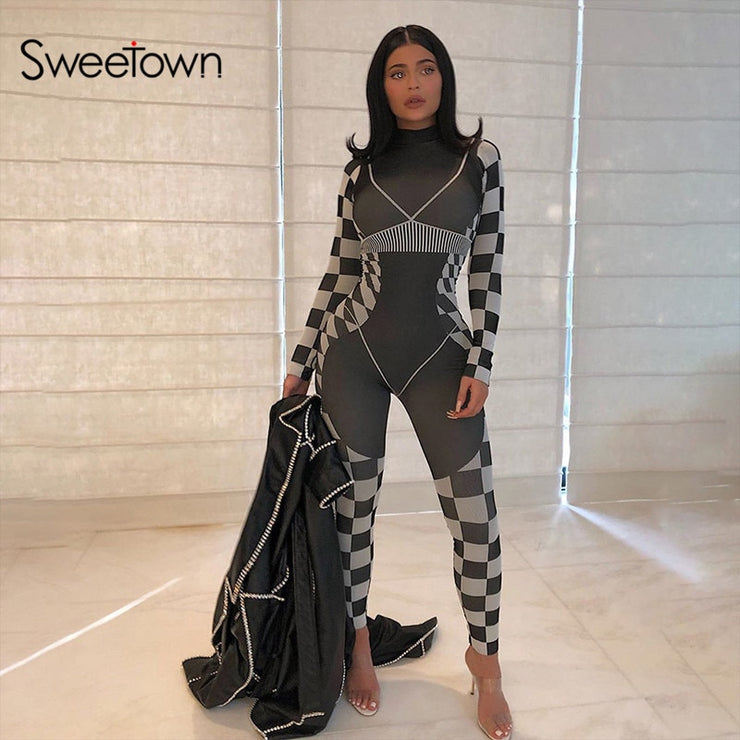 Sweetown Spring 3D Print Long Sleeve Bodycon Jumpsuit Women Casual Fitness Workout Sporty Activewear Body Mujer Rompers