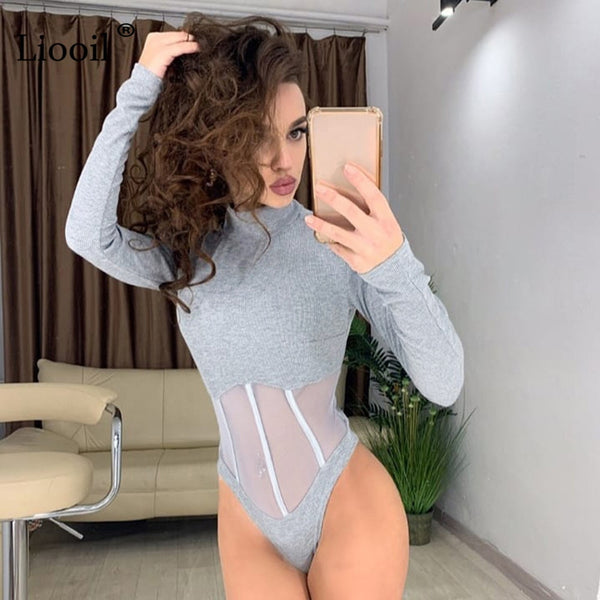 Black White Sheer Mesh Bodysuit Tops For Women Sexy Club Outfits Long Sleeve Turtleneck Bdycon Party Jumpsuit Club Romper