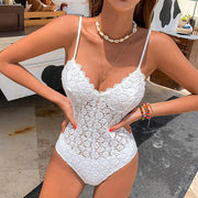 Ruffle Double-Sided Swimsuit Female Elegant Bodysuit Solid Swimwear Women Bathing Suit Monokini Multiple Matches One-Piece Suit