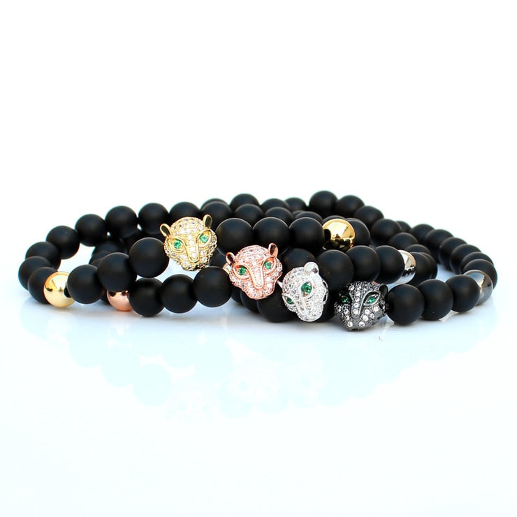 Natural Stone Beads Bracelet Leopard Men Jewellery Bracelets For Women Pulseira Armband Accesorios Mujer wholesale Special Gift