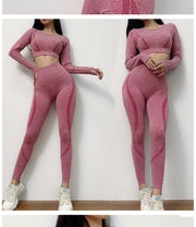 New Active Wear Sets Women Workout Clothes Gym Wear Tracksuits Yoga Jogging Track Outfit Legging Long Sleeves Shirts Suits