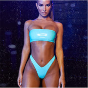 Fashion Women Sexy Micro Bikini Set Strapless Bandeau Swimsuit PU wetlook Swimwear Triangle Party Club Brazilian Bathing suit