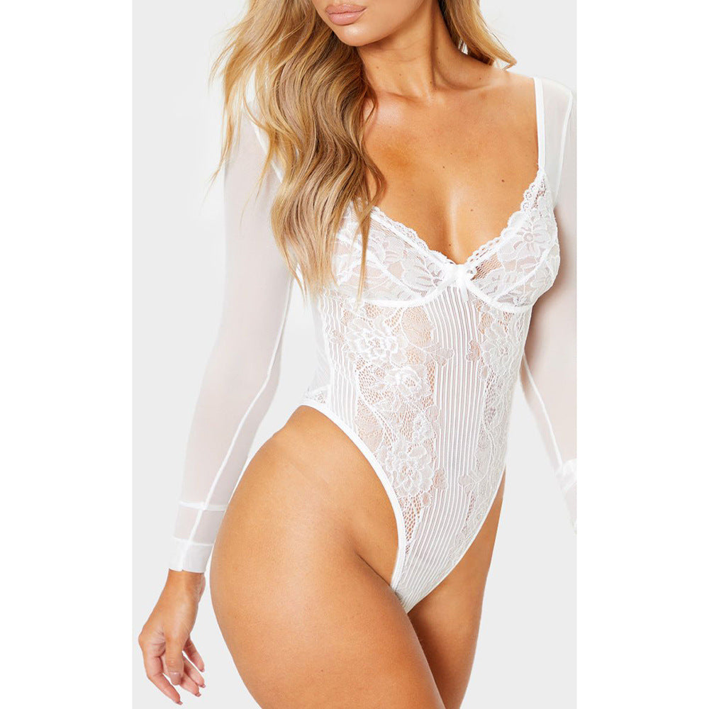 Fashion New Mesh Lace Bodysuit Women Transparent Long Sleeve Sexy Bodysuits White Black Red Floral Embroidery Body Suit