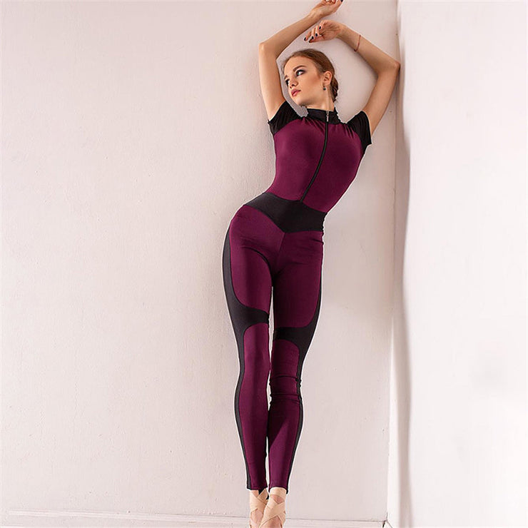 Push Up Sporty Fitness Bodysuit Women Active Wear Rompers Zipper Patchwork Short Sleeve Jumpsuits Sport Tracksuit Yoga Set