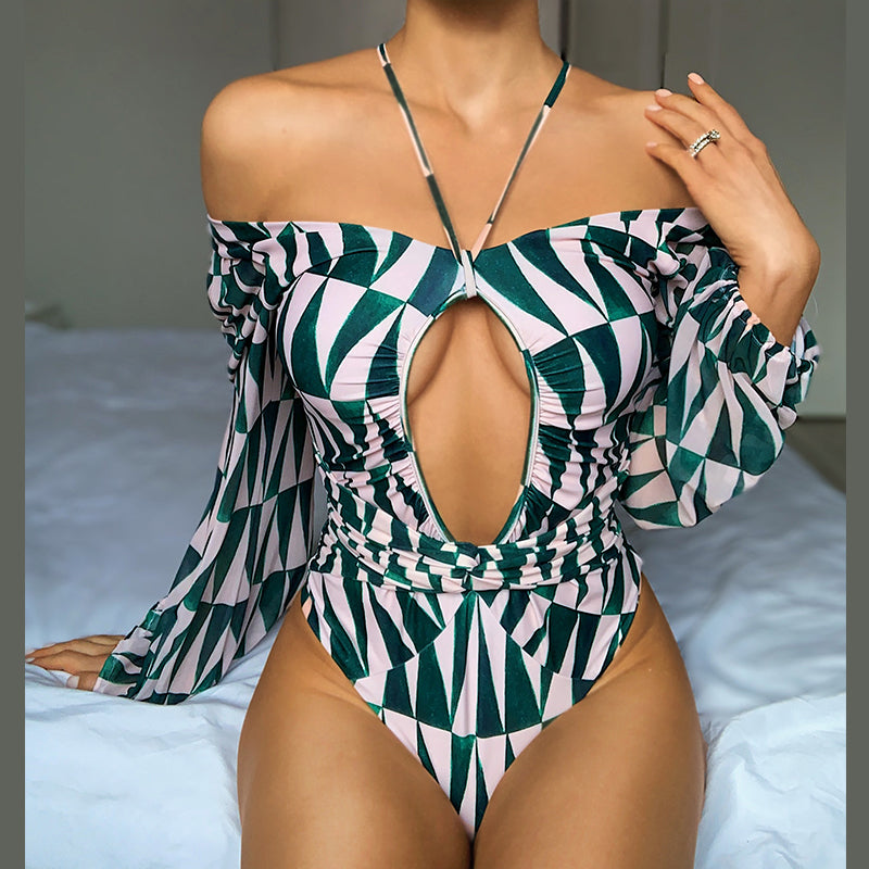 Peachtan v neck swimsuit one piece  Print swimwear women Hollow out bodysuits monokini Long sleeve bathing suit Plus size
