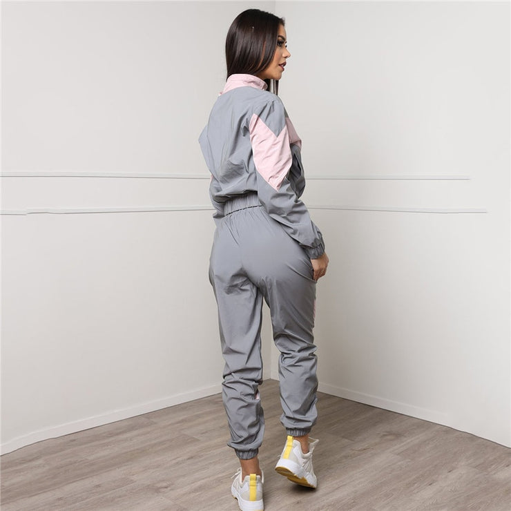 Women Tracksuits 2 Piece Set Reflective Zip Crop Top Pants Windbreaker Fashion Female Loose Glow Jacket Coat Trousers Plus Size