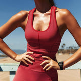 New Women's Knit Seamless High Waist Yoga Sports Fitness Suit Female Stylish Red Striped Vest + Yoga Leggings Two-piece Set