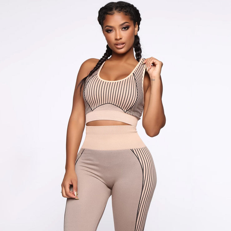 New Women Sport Suit Yoga Set Gym Stripes Sleeveless Vest Leggings Sportswear Running Sets Tight Fitness Sports Clothing