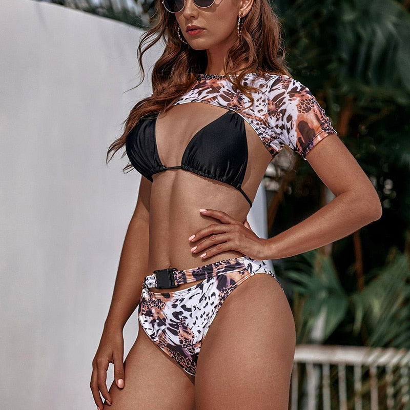 High Waist Bikini Leopard Print 3 Piece Swimsuit Female Vogue Belted Swimwear Women Short Sleeve Mesh Biquini  Summer