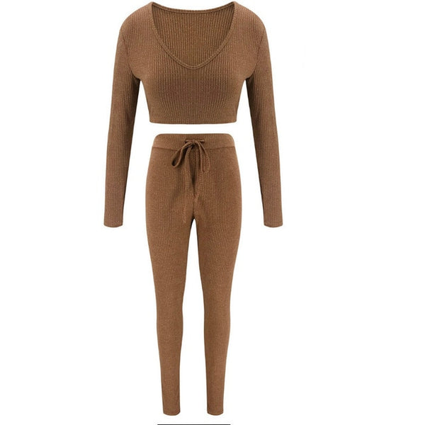 Women Autumn Sexy Knitted Knitwear Tracksuits 2 Pieces Soild Long Sleeve Crop Tops +Lace-up Long Pants High Street Outfits