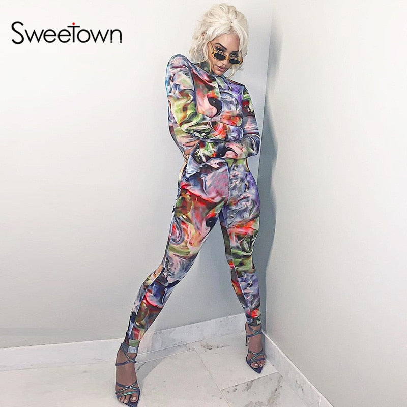 Sweetown Athleisure Tie Dye Sporty Casual Jumpsuit Women Long Sleeve Workout Skinny Rompers Jumpsuits Print Bodycon Body Mujer