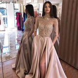 Dubai Gold High Neck Sparkle Prom Dresses  Sleeveless Tassel Beading A-Line Prom Gowns Design  Serene Hill LA60998