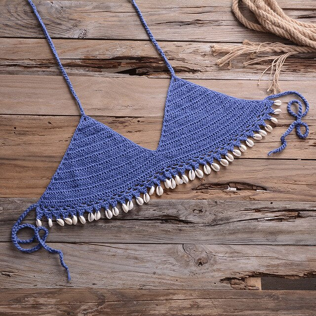 Women Bikini Set Push Up Crochet Knitting Woven Beachwear Bandage Summer Bralette Knit Halter Bathing Swimsuit Swimwear