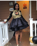 Black Short Prom Dress  Sexy Cut-Out Front Gold Appliques Long Sleeve African Black Girl Mini Prom Dresses