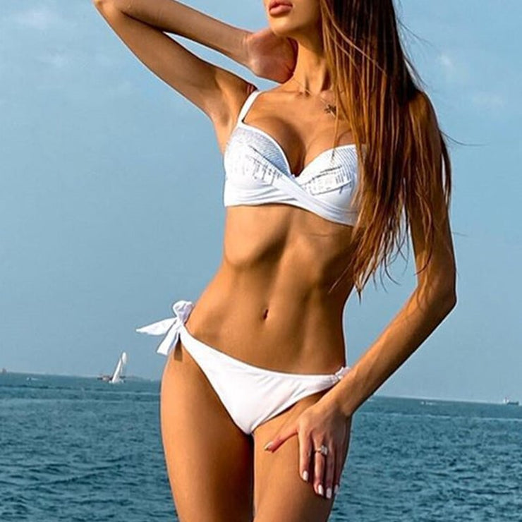 Push up bikini set High cut bathing suit Knot swimwear women Rhinestone bikini  Fashion swimsuit female summer bathers new