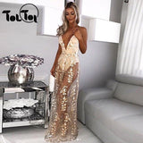 Women Elegant Summer Maxi Long Sexy Dress Embroidery Backless V Neck Long Party Dresss Sleeveless Solid Vestidos