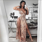 New Arrival Split Sexy Dresses Women V Neck Backless Sequin Dress Party Sleeveless Red Long Maxi Dresses Clothes