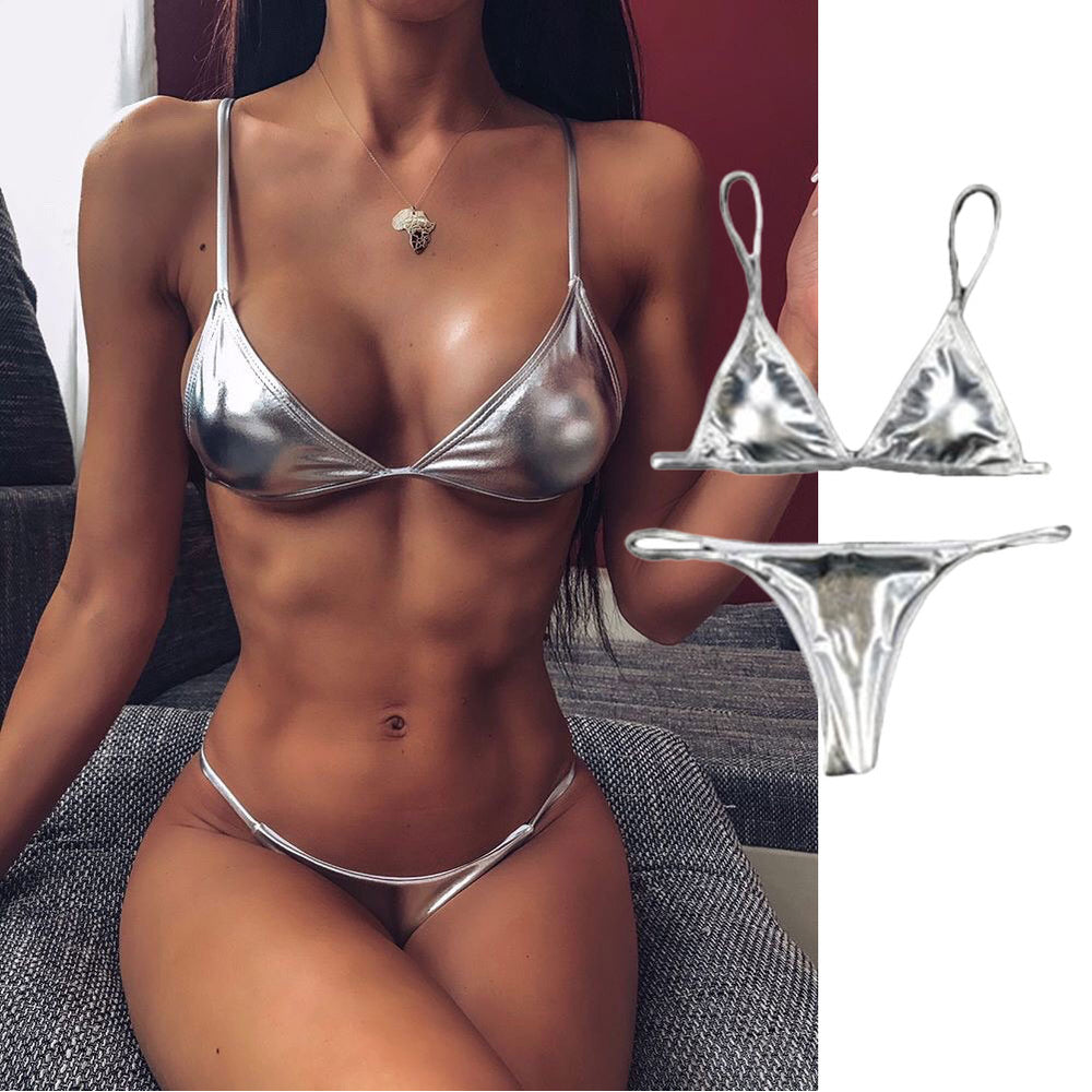 Sexy Women String Micro Bikinis Brazil Thong Swimsuit Silver Strap Two Piece Swimwears Female Swimsuit Set Push Up Biquini