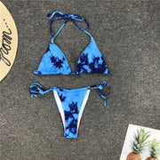 Tie Dye Bikini  Blue Sexy G String Swimsuit Thong Women Push Up African Swimwear Micro Floral Print Strappy Bathing Suits