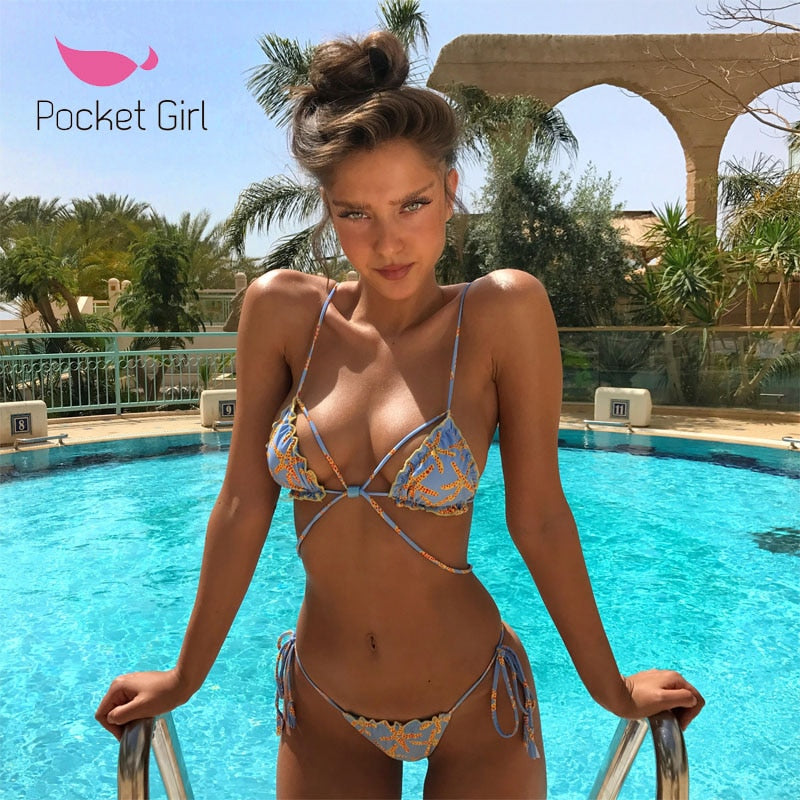Pocket Girl  Women Padded Bra Swimsuit Ladies Bikini Bandage Bikini Set Swimwear  Beachwear Micro Bikinis Femmes Maillot de