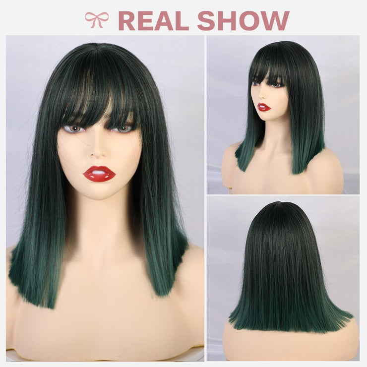 JONRENAU Pink Green 2 Colors Short Straight Synthetic Bob Wigs with Bangs for  White/Black Women Party or Cosplay