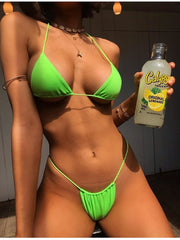 NewAsia Micro Swimwear Women Bikinis  Mujer Biquini Neon Green Halter Push Up Padded Sexy Swimsuit Solid Color Beach Wear