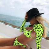 Long sleeve Neon Green Leopard bikini women swimsuit bikini set sexy swimwear female Brazilian bathing suit swim beach wear