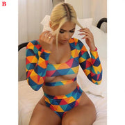 Summer Sexy Women Long Sleeve Short Paragraph Bikini Set Push-Up Bandage Swimwear Swimsuit Bathing Suit