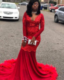 Red Mermaid Long Prom Dresses African Black Girl V-neck Appliques Feathers Long Sleeve Prom Dress