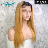 Newa Hair 13x6 Straight Lace Front Human Hair Wigs Pre Plucked With Baby Hair Ombre Highlights Brazilian Remy Lace Front Wigs