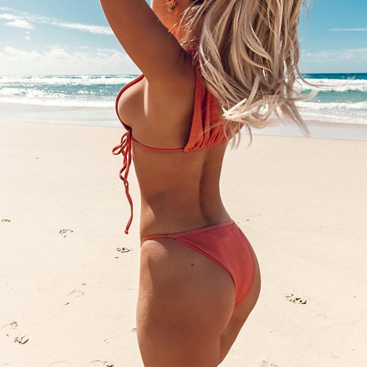 High neck bikini  Solid swimsuit female Sexy Bandage swimwear women High cut bathing suit String bikini set Push up biquini