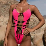 Bandage Thong Swimwear  Sexy Bathing Suit Women Monokini String Neon Green Bikini Push Up Female Swimsuit One Piece Bodysuit