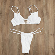 Summer Bikini Set Women Plain Thong Push-up Bra Bandage Swimsuit Triangle Swimwear Bathing Stretch Beachwear