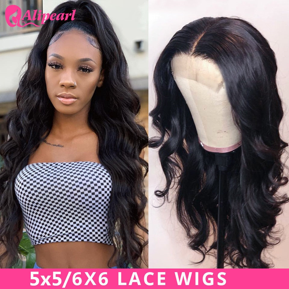 AliPearl Hair Wigs Body Wave 6x6 Lace Closure Wig Human Hair Wigs Brazilian 5x5 Lace Wigs For Black Women 150 180 Ali Pearl Hair