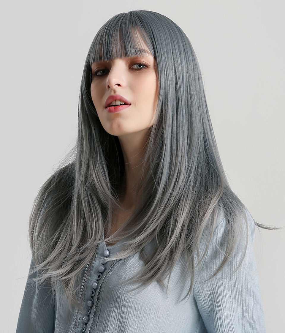 JONRENAU  Cyan Ombre Grey Color Long Straight Hair Synthetic Fashion Wigs with Bang For Women Cosplay or Party