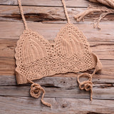 Women Shells Tassel Sexy Bikinis Knitted Crochet Swimsuit Women Swimwear Brazilian  Summer Solid Bathing Suit Beachwear