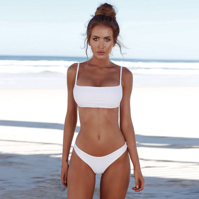 Swimwear Ms. Bandage Bikini Sexy Off-Shoulder Swimming Thong Swimsuit Simple Solid Color Halter Bra Adjustable Sexy Bikini