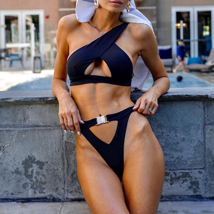 In-X One shoulder bikini set Sexy keyhole bikini  High cut swimsuit female bathing suit Hollow out swimwear women bathers