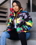 ANJAMANOR Camouflage Print Winter Jacket Women 4XL Plus Size Bubble Coat Oversized Puffer Jacket for Winter Fashion Parka 30FB44