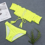 Sexy High Waist Bikinis  Mujer Neon Green Swimsuit Female One Shoulder Swimwear Women Bandeau Patent Leather Bathing Suit