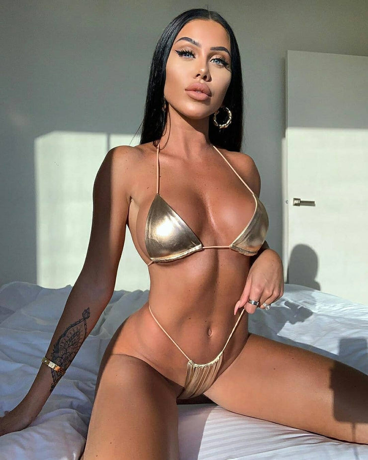 Women Swimwear Beach Bathing Suit Bikini Set Push Up Bandage Thong Solid Bronzing Bikini Maillot De Bain Femme Swimsuit Gold