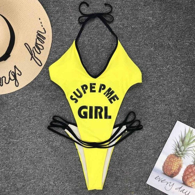 Sexy Letter Print One Piece Swimsuit  Push Up Bandage Beachwear Mujer Padded Sexy Bathing Suits Bodysuit Monokini Swimsuit