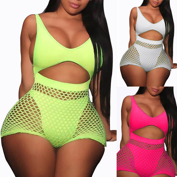 2 pieces Set Women Fishnet Sheer Mesh Playsuit Bodysuit Romper Set Sleeveless Front Hole Backless Top Tank+ Shorts sets
