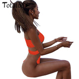 Totatoop One Shoulder One Piece Swimsuit  Women  Summer Sexy Mesh Swimwear Transparent Hot Beach Wear Neon Plus Size 2XL