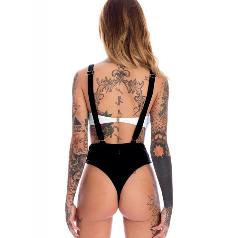 New Sexy Braces Bikini Set Stitching Strap Backless Beach Swimsuit Women Swimwear Slim Brazilian Swimming Suit Summer