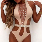 Women Swimsuit One Piece Diamond Swimsuit Crystal Nude Bikini Brazilian Rhinestone Beachwear push up Bikini Bandage Biquini